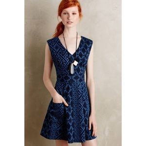 TRACY REESE Plenty Floral Fit Flare Denim Dress